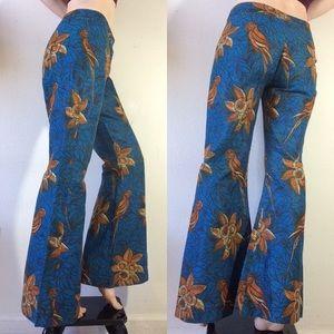 Parrot Hippie Flare Pants Tropical Lovebirds